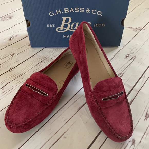Gh Bass Womens Blair Wine Suede Loafers